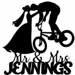 Bride kissing Groom on bike with Surname Cake Acrylic Topper